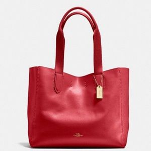 Coach Derby Tote Red Leather - New